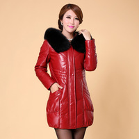 Winter New Arrival Women's Luxury Warm Fox Fur Collar Genuine Leather Coat Long Leather Jacket 1303C , EMS Free Shipping