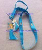 Wholesale 50pcs Cartoon Frozen Blue Lanyard/Work cards/ key chains /Neck Strap Lanyard + pouch bag pvc Figure