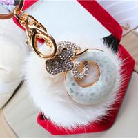 New arrival!  hair bulb car keychain women's fashion rabbit fur key chains bag holder novel design best gift  lovely modelling