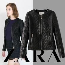 Hot Sale 2014 New Fashion Leather jacket women ZA  Jaqueta couro Zipper PU Leather Jacket Black coat Overcoat Patchwork 157(China (Mainland))