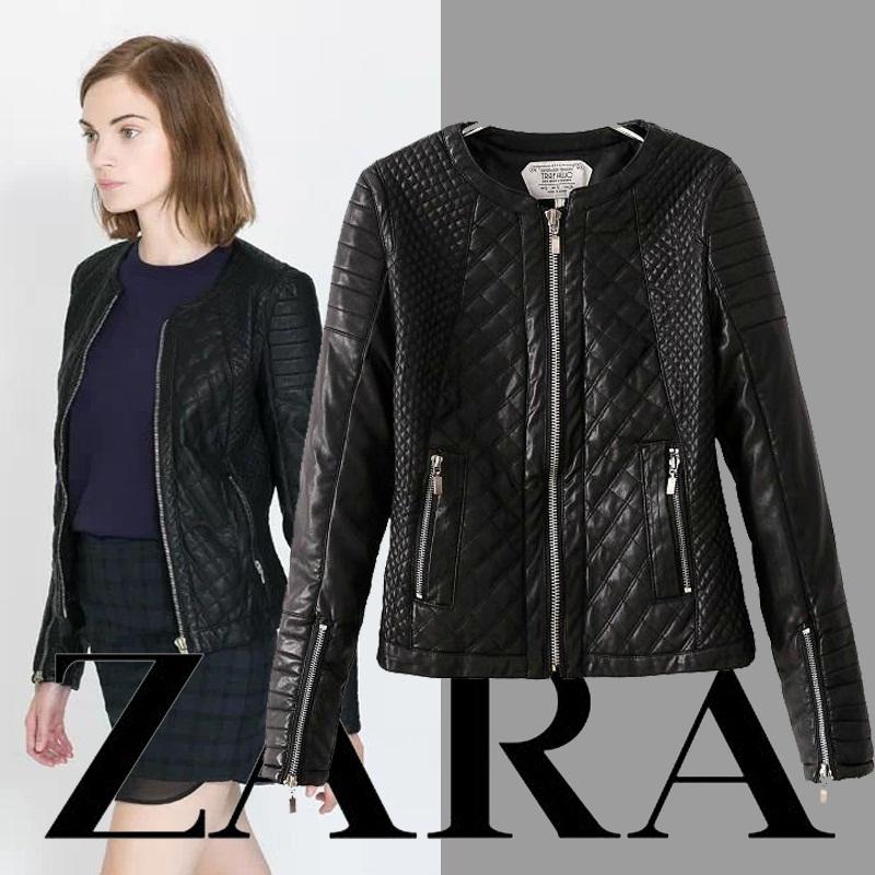 Кожа куртка женщины ZA Jaqueta couro молния полиуретан кожа куртка черный пальто пальто пэчворк 157
