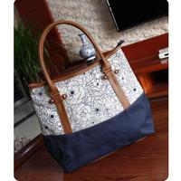 Fashion Russian women's Oxford & leather handbag Europe style print oxford fabric shopping bags handbag travel shoulder bag