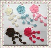 Free Shipping/ Cute crochet flower/ Baby Headband Appliques/ Hand-made knitting flower Applique