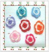 Free Shipping/ 3D rose crochet flower/ Baby Headband Appliques/ Hand-made knitting flower Applique