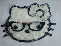 Hello Kitty chiffon 3D rosette mesh trim, kids hair hat accessories, garment patch accessories, Hair Flower Fabric Craft