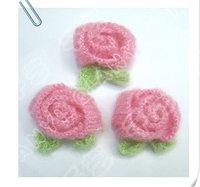 Free Shipping/ Pink crochet 3D Rose flower/ Baby Headband Appliques/ Hand-made knitting flower Applique