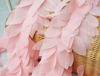 Wholesale Retail Top Rated Leaves Leaf 3D Fabric Craft Sewing Mesh Trim Pink Free Shipping