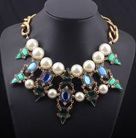 Women statement Necklaces Pendants 2014 new Fashion Jewelry Luxury gem Vintage Choker Chain Cross Large Pearl collar Rhinestone