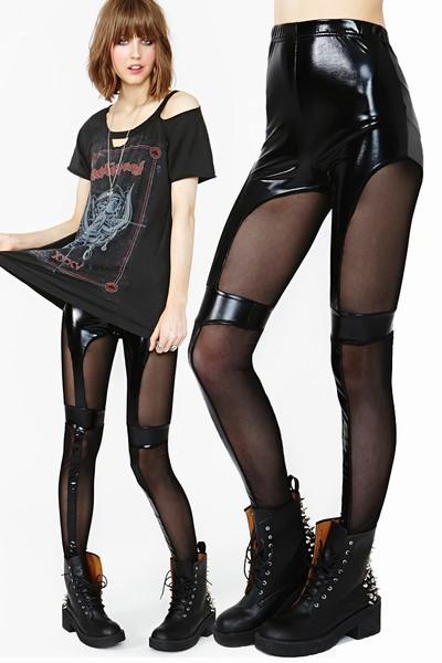 2014 new women lady Sexy Vinyl Clubwear Punk Gothic Wetlook Leggings pants leather mesh inserts across DFG052(China (Mainland))