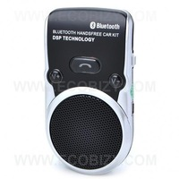Handsfree Car Kit +Solar Powered ,Built-in speaker and microphone + ABS housing + Voice dial +rechargeable + Free shipping