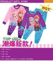 2014 2T-10T girls frozen elsa and anna long sleeved sleeve winter pajamas pyjamas sleepwear A001