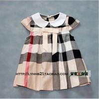 Free shipping!Hot 2014 new Spring&autumn kids cute plaid tutu dress children princess party dress girls short-sleeve dresses