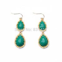 Green Resin Waterdrop Earrings For Women 2014 Fashion Jewelry Free Shipping