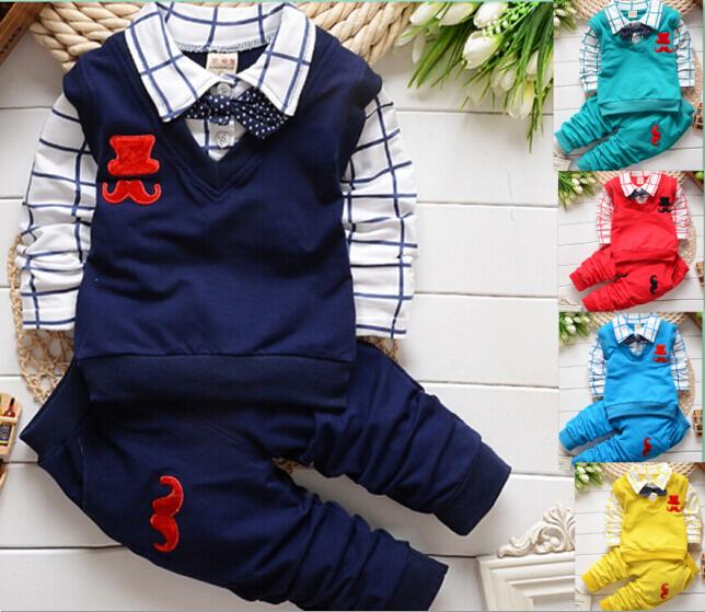 Nuevo 2014 de primavera y otoño los niños traje de deporte de conjunto de los bebés varones de manga larga conjunto ropa de niños de 2 piezas t shirt+pants conjunto ropa