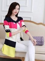 New 2014 Fall Women Sweater Cardigan Fashion Mixed Colors Women Sweater Cardigan knitted Coat Free Shipping Promotion tricotado