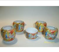 ES046 Jingdezhen China ceramic bird feeder cup,Hand painted,Fushou design,5Pcs one sets,Free shipping