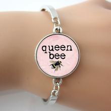 Queen Bee Bracelet,Honey Bee Bumblebee Insect Light Pink Art Pendant Bangle,Fashion H Bracelet For Men,Animal Bracelets Bangles