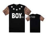Boy london t-shirt men's short sleeve shirt boylondon t-shirts cotton print leopard Floral 5 stars tees man Crew Neck