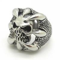 New Trendy !!! Men's Fierce Dragon Claw Skull Ring New Fashion 316L Stainless Steel Jewelry New Arrival Gift