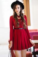 2014 spring and autumn fashion women's elegant vintage royal umbrella red dress hot-selling