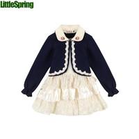 2 colors Two-piece suit girls  spring&autumn lace cardigan jacket lapel coat  + Lace Cake dress  Set  girls  clothing  ELZ-T0326