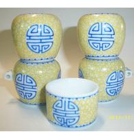 ES047 Jingdezhen China ceramic bird feeder cup,Hand painted,Fushou China Character design,5Pcs one sets,Free shipping