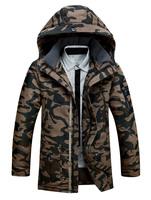2014 New men's fashion down coat military camouflage print men medium-long design down padded jacket thick winter coat M-3XL