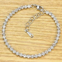 Platinum Plated Bracelet For Women Figaro Chain Use Austria Crystal Simulated Of Diamond Bangle Lovely Jewelry