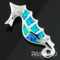 Pacific Blue Fire Opal Silver Seahorse Fashion  Jewelry Women & Men Pendant OLP006L  Wholesale & Retail