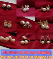 gold tone faux pearl cyrstal stud earrings cuff multi designs butterfly flower