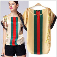 [B-1442] Free shipping 2014 summer new colored stripe t-shirt fashion short locate the color of the flower T-shirt