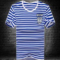 2014 male short-sleeve T-shirt male short-sleeve stripe clothes print fashion slim men's clothing