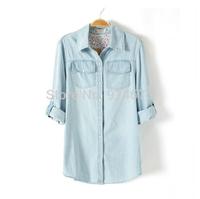 Fashion Women Shirts 2014 New blusas femininas Floral Print Denim Shirt Womens Cardign Blouses ,Free Shipping