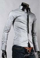 2014 new Collar color block decoration false tie male slim long-sleeve shirt M-XXL free shipping