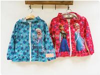 2014 Frozen 100-140 Red/Blue Hoodies Sweatshirts coat Anna Elsa new design long sleeve Jackets A001