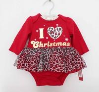 Christmas Leopard Toddler Girls Ruffles Tutu skirt Romper Baby Dress Rompers Baby long Sleeve jumpsuit Infant Tutu Dress romper