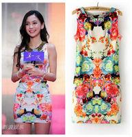 H-HOME Brand Print Dresses Women Ladies Sexy Slim Floral Print Dress Free Shipping 0794