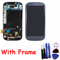 100% Guarantee Dark Blue Touch Screen LCD Display Frame Assembly Digitizer Replacement Parts with Tool For Samsung i9300 S3