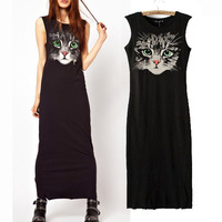 Cat Head Printing Women Sleeveless Casual Straight Cotton Black Long Dress Fashion Ladies Brief Ankle-Length Dress Basic Dresses
