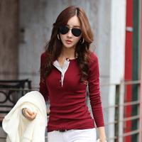 2014 autumn and winter t-shirt female long-sleeve V-neck embroidery slim basic shirt