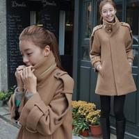 Autumn and winter the Korean Cape wool overcoat female European long woolen coat girl
