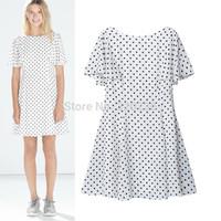 Free shipping !  2014 Girls  Petal Sleeve   Polka Dot Pattern Chiffon Dress ladies fashion dress evening dress