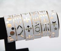 #434 12pcs/lot Wholesale Mix 6 Different Design 2CM Wide Letter/Pattern Frost Metal Bracelet For Women Charms Free Shipping