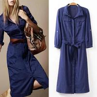 [B-1447]   Free shipping 2014 Autumn women dress jeans Slim thin waist belt blue long denim dress