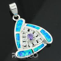 Purple Amethyst Pacific Blue Fire Opal Silver Fashion  Jewelry Women & Men Pendant OLP010LA  Wholesale & Retail