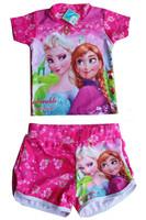 2014 Girl Swim Wear Frozen Elsa Anna Princess Print Two Piece Child Swimsuit Girls Rash Guard Kids Bathsuit Free Shipping