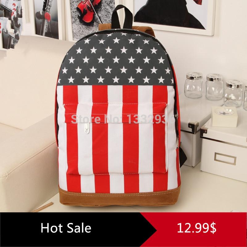 2015 Hot fashion Unisex Punk teenagers school bag Book campus Packbag USA flag women backpacks men's shoulder bags big promotion(China (Mainland))