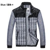 Spring Autumn Men's Jackets Men Winter Casual Outdoor Fashion Man Slim Fit Coat Business Stand Collar Jacket Black Blue Plaid