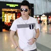 2014 summer male short-sleeve T-shirt men's clothing short-sleeve clothes slim white print male t-shirt