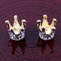 (30pcs/lot) Elegant 3D Metal Crown With Rhinestone For Fashion Girl Shiny Gem Button For Bride Accessories
